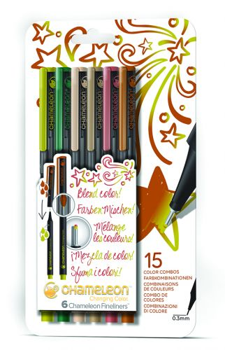 Chameleon Art Products Fineliners 6 Pack Nature Colors Set