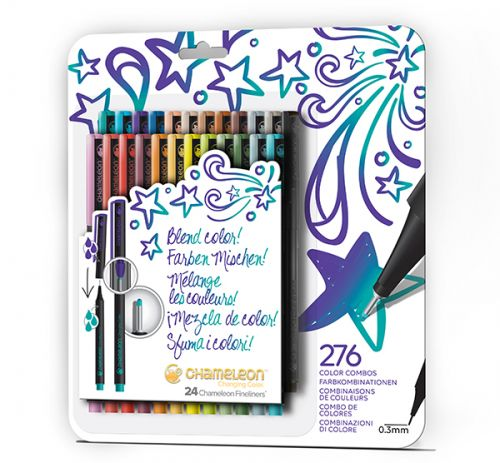 Chameleon Art Products Fineliners 24 pack Bold Colors