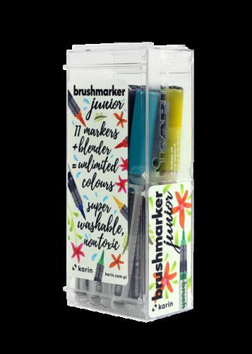 KARIN Brushmarker JUNIOR 11 basic colours + 1 blender set, FRONT