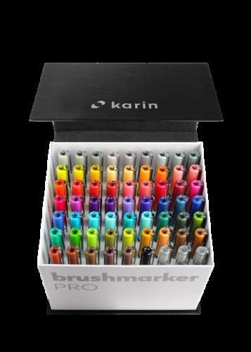 KARIN Brushmarker PRO Mega Box 60 colours + 3 blenders set, FRONT
