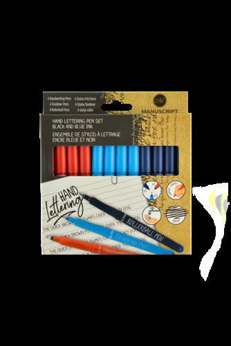 12 Mixed Roller/Handwriting/Fine Pens (Black & Blue)