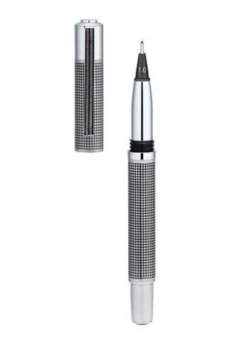 Yookers 999 METIS Fiber pen Black grid on satin chrome finish 1.0mm fibre tip Cap off