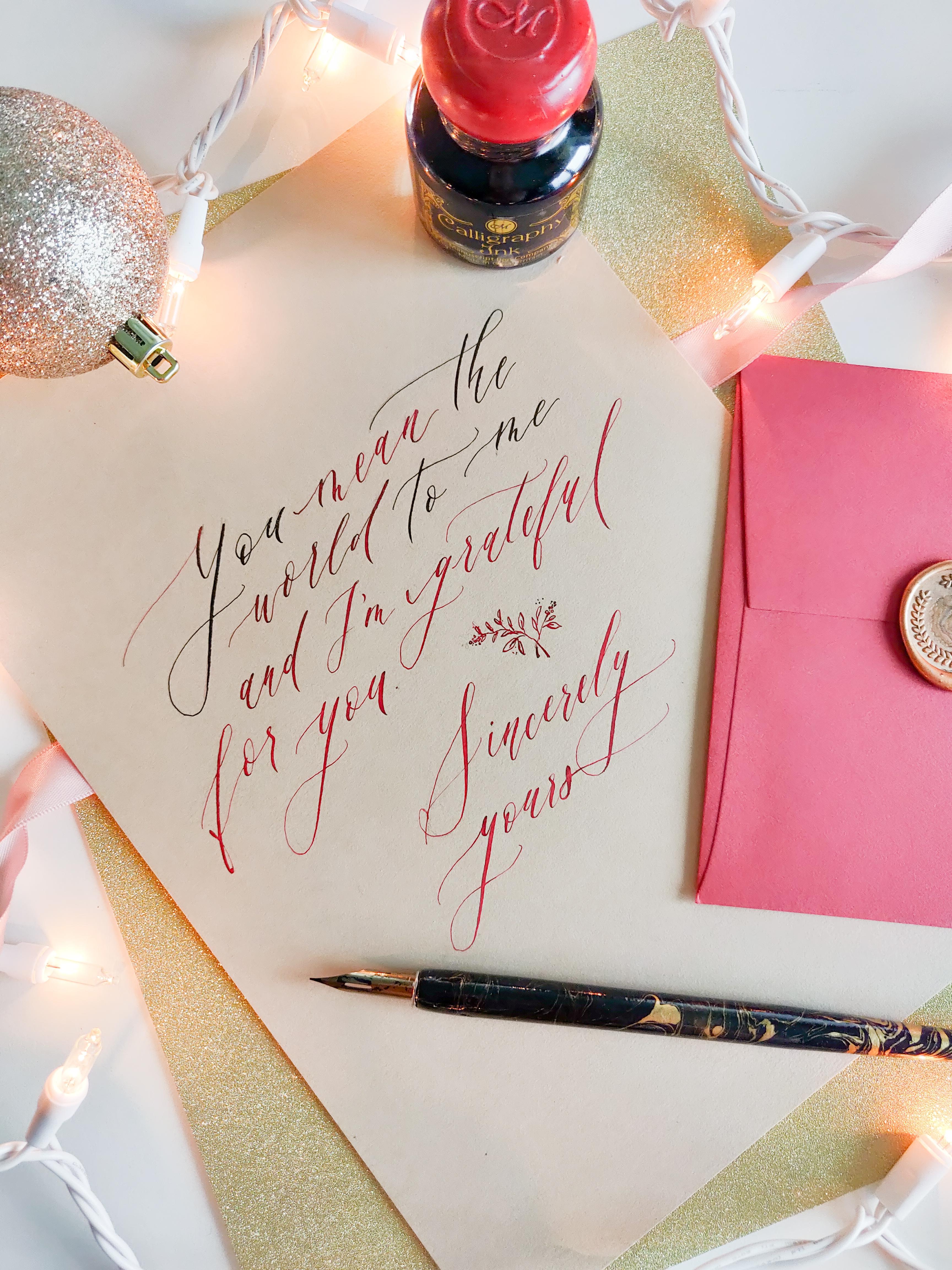 mandy wan dip pen calligraphy